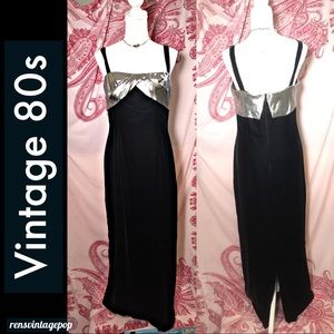 vintage early 80s black velvet w silver gown